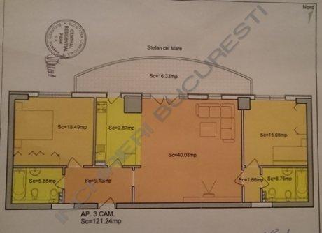 schita apartament central parc 3 camere